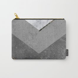 Marble Gray Copper Black Gold Chevron Carry-All Pouch