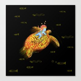 glowing turtle Canvas Print