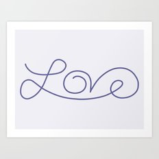 Love calligraphy print - Smokey purple with pale purple background Art Print