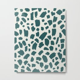 Brush Stroke Minimal 15 - Abstract Pattern Shapes Modern Mid Century Texture Green. Gift idea Home deco Metal Print