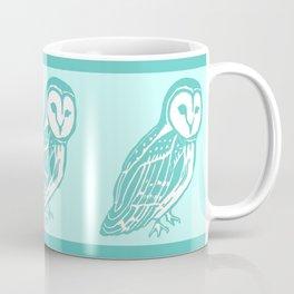 Turquoise Barn Owl Art Coffee Mug