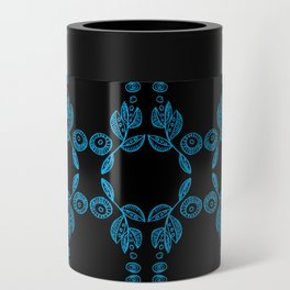 Hand drawn Seed Pods Bright Blue on Black Can Cooler