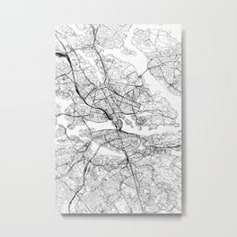 Stockholm White Map Metal Print