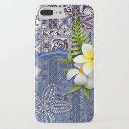 Blue Hawaiian Tapa and Plumeria iPhone Case