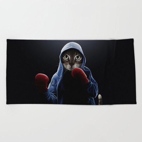 Boxing Cool Cat Beach Towel