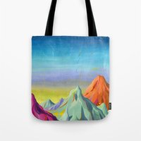 mountains Tote Bags featuring mountains  by Robert Deutsch