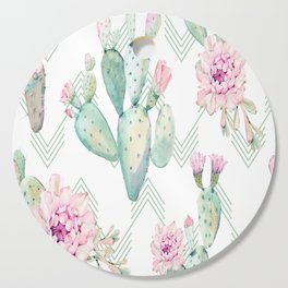 Cactus Rose Deconstructed Chevron Cutting Board