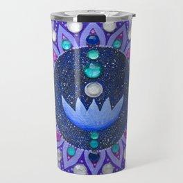 Lotus and Moon Phases Jewelled Mandala Travel Mug
