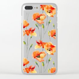Hand Painted orange yellow watercolor poppies floral Clear iPhone Case