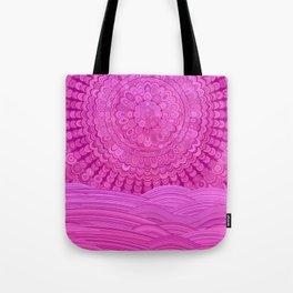 Hot Pink Ocean Mandala Tote Bag