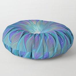 Decorative Blue Purple Turquoise Flower Fractal Art Floor Pillow