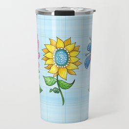 Three Dancing Flowers Travel Mug