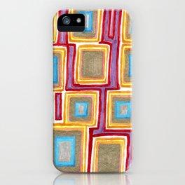 Crimson Gold and Squares iPhone Case