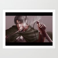 shingeki no kyojin Art Prints featuring Shingeki no Kyojin - Levi by Paleblood