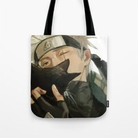 kakashi Tote Bags featuring Kakashi & Cat by MMCoconut