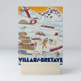 retro poster villars bretaye hotels et sports cff sbb Mini Art Print