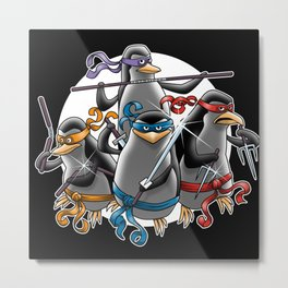 Ninja Penguins Metal Print