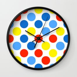 Primary Color Neck Gator Polka Dot Primary Colors Wall Clock