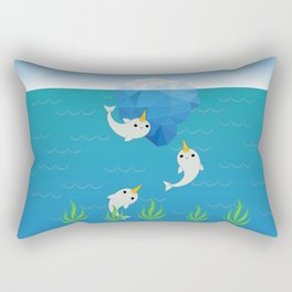 Swimming Narwhals Rectangular Pillow