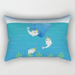 Swimming Narwhals Rectangular Pillow