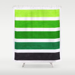 Colorful Green Stripes Shower Curtain