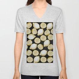 Lemons on black background Unisex V-Neck