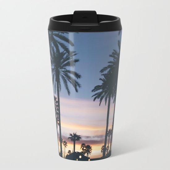 Sunset in the City (Hawaii Tropical Palm Trees) Metal Travel Mug