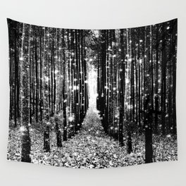 Magical Forest Black White Gray Wandbehang