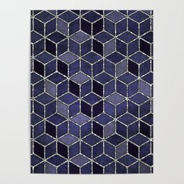 Shades Of Purple Cubes Pattern Poster