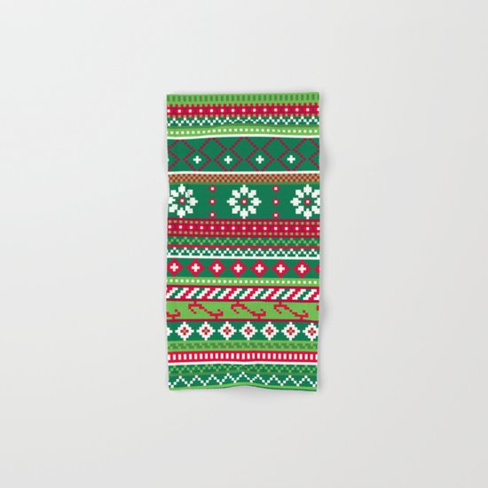 Fair Isle Christmas Pattern Hand & Bath Towel
