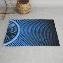 Blue music speaker and sound waves Rug