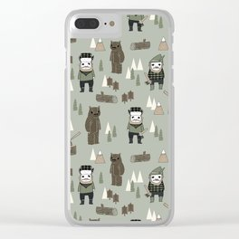 Forest lumberjack and bear nursery kids cute woodland camper gifts Clear iPhone Case