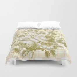 Vintage Rose on Plaid Duvet Cover