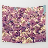 cherry blossoms Wall Tapestries featuring Cherry Blossoms by CAPow!