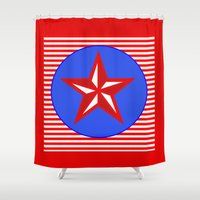patriotic Shower Curtains featuring Patriotic Star by Bright Vibes Design