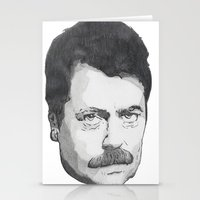 ron swanson Stationery Cards featuring Ron Swanson by Lina