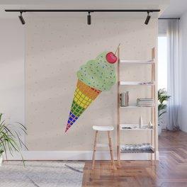 Colorful Ice Cream Cone Design Wall Mural
