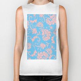 Vintage chic blue coral pink floral damask Biker Tank