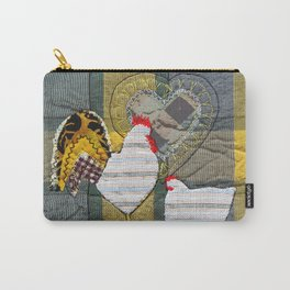 Hen & Rooster in grey Carry-All Pouch