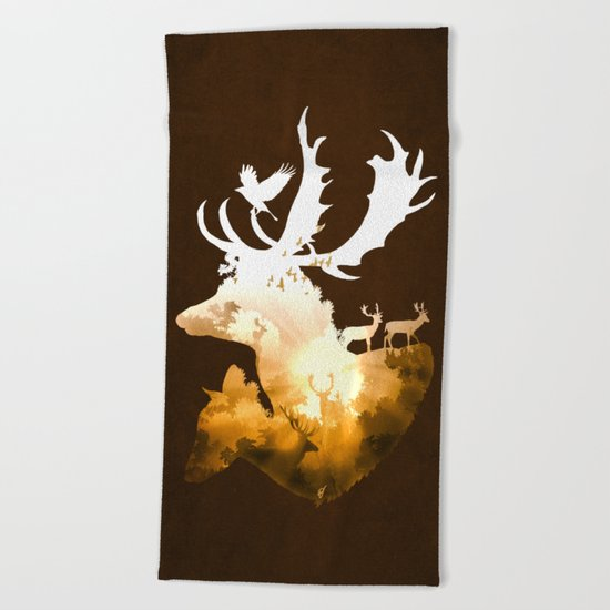 Deer Autumn Beach Towel