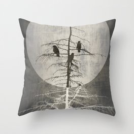 Full Moon and Crows Throw Pillow