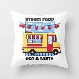 Street Food truck hot & tasty Throw Pillow
