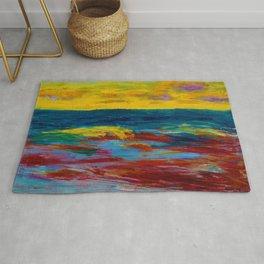 'A New England Coastal Sunset' landscape painting by Emil Nolde Rug