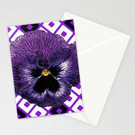 Purple & Black Pansy White Pattern Art Stationery Cards