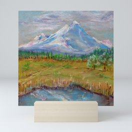 Landscape with montane and lake for good interior design drawing by pastel Mini Art Print