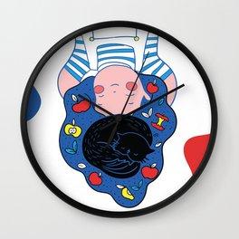 Girl & Black Cat Wall Clock