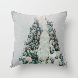 Silver Bird Snowy Tree Throw Pillow