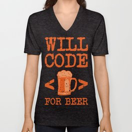 Beer Code for a Glass Gifts For Beer Lovers Unisex V-Neck