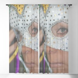 Woman With Mask Sheer Curtain