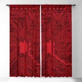 Red Geek Motherboard Circuit Pattern Blackout Curtain